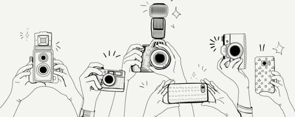 Ilustração de várias câmeras.