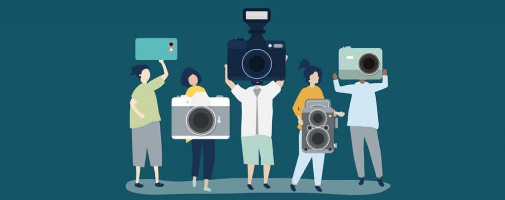 Ilustração de pessoas segurando câmeras e smartphones.