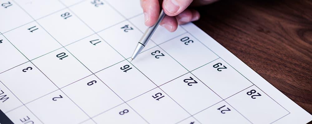 Foto de um calendário.